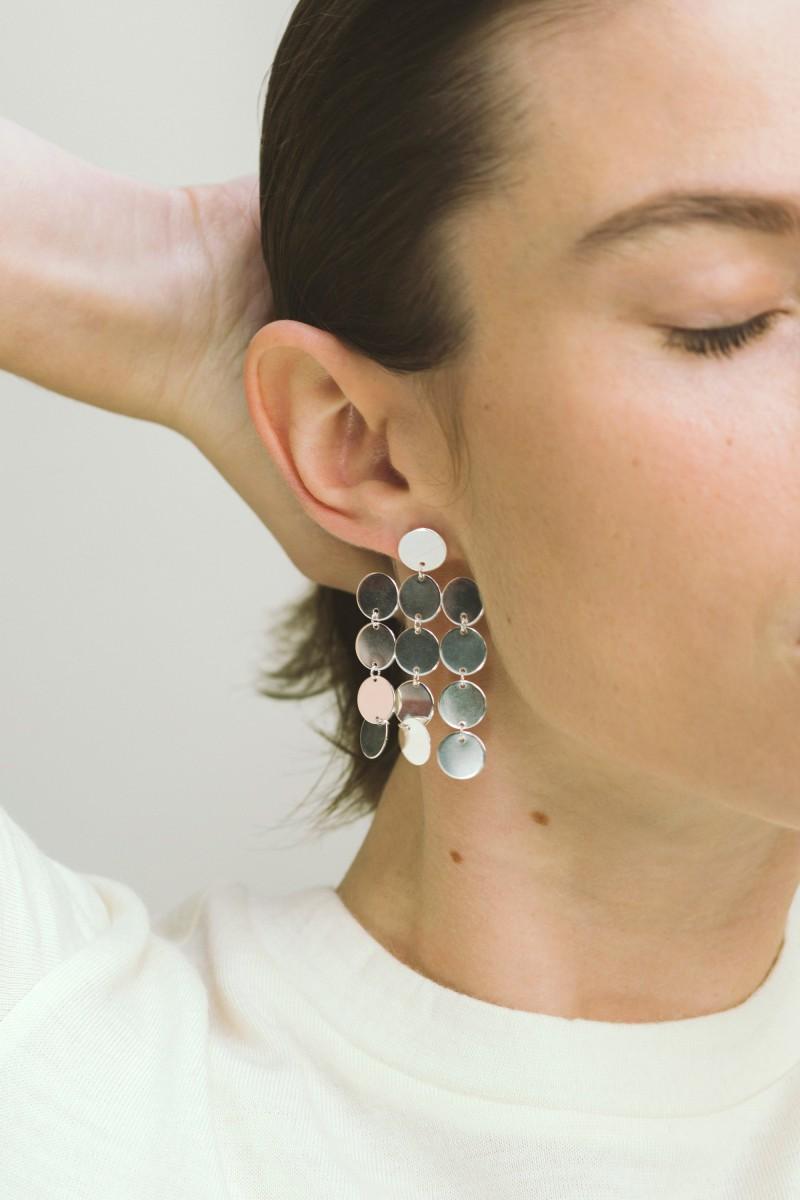 Saskia Diez Paillettes Silver Earrings CmMnVY